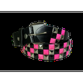 3-row Metal Pyramid Studded Leather Belt 3-tone Striped Punk Rock Goth Emo Biker - Pink With Silver And Black / Xl