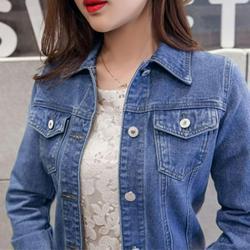 Cocloth Women Denim Jackets Vintage Long Sleeve Jacket Casual Slim Coat Candy Color Bomber Jacket