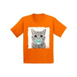 Awkward Styles Cat Blowing Blue Gum Shirt Cat Lovers Lovely Gifts for Kids Funny Animal Youth Shirt Cute Animal Lovers Clothes New Kids T Shirt Gifts for Kids Little Cat Clothing Childrens Outfit