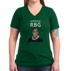 CafePress - Notorious RBG Women's V Neck Dark T Shirt - Women's V-Neck Dark T-Shirt