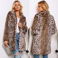 Fashion Women Winter Leopard Print Coat Faux Fur Turn-Down Collar Long Sleeve Thick Pocket Button Fluffy Jacket Long Coat
