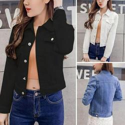 Promotion Clearance Boyfriend Jean Jacket Women Denim Jackets Vintage Long Sleeve Jacket Casual Slim Coat Candy Color Bomber Jacket