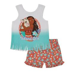 Disney Princess Moana Toddler Girls Sleeveless Tank Top and Shorts Set Coral 2T