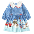 Xmas Princess Dress Infant Kids Baby Girls Dress Flare Long Sleeve Cartoon Striped Knee Length A-Line Christmas Dress