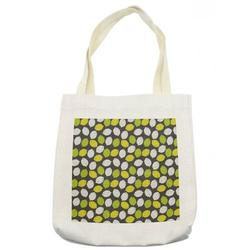 """Lemons Tote Bag, Neatly Scribbled Lemon Fruits on Plain Monocolored Grey Background, Cloth Linen Reusable Bag for Shopping Books Beach and More, 16.5"""" X 14"""", Cream, by Ambesonne"""