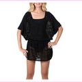 Dotti Womens Crochet Tunic Cover Up Black, Large
