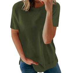 Dokotoo Casual Tops for Women Crew Neck Tops Workout Shirts Casual Loose Tees Size 2X-Large US 18-20
