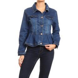 Women's Plus / Juniors Size Premium Denim Premium Bodice Long Sleeve Jacket