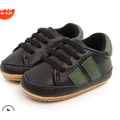 Baby Boys Girls Lace Up Sneakers, Casual Striped Leather Crib Shoes Soft Rubber Sole Infant Moccasins