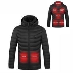 Men Women Heating Coat Hooded Heated Jackets Winter Coat USB Heating Heated Warm Jacket Heating Cotton-Padded Jacket