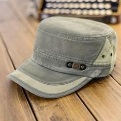 Prettyui Classic Men Women Hat Washed Cotton Military Caps Cadet Army Caps Unique Design Vintage Flat Top Cap