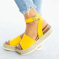 Egmy Woman Summer Sandals Open toe Casual Platform Wedge Shoes Casual Canvas Shoes