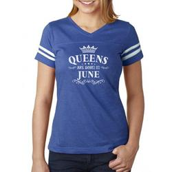 Tstars Womens Birthday Gift for Women Queens Are Born in June Birthday Party B Day Women Football Jersey T Shirt