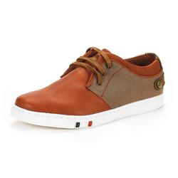 Bruno Marc Mens Mesh Leather Sneakers Casual Shoes Slip On Lace Up Waking Shoes Ny-03 Tan 7