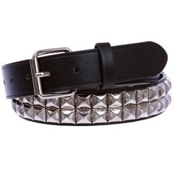 """1 1/4"""" (33 mm) Snap On Two Row Punk Rock Star Silver Studded Leather Belt"""