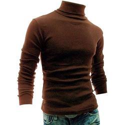 Gupgi Men Polo Roll Turtle Neck Plain Pullover Knitted Jumper Basic Tops Sweater