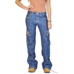 Cargo Jean Women Mom Jeans Pants Boyfriend Jeans Ladies Cargo Pants with High Waist Pocekts Straight Leg Denim Jeans