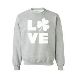 Awkward Styles St. Patrick's Day Love Shamrock Sweatshirt Shamrock Men's Sweatshirt Women's St. Patrick's Day Sweatshirt Irish Gifts Lucky Crewneck Sweatshirt Saint Patrick's Day Outfit Irish Clover