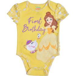 Disney Princess Belle Baby Girls Short Sleeve First Birthday Bodysuit Onesie, Yellow, Size 18M