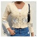 Women?s Casual Long-sleeved Cardigan Fashion Geometric Patterns V-Neck Single-breasted Short Style Coat