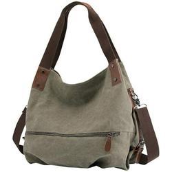 Women's Canvas Handbag Small Vintage Shopper Shoulder Bag Handbag Hobo Bag - Green -