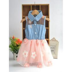 Luxsea Summer Kids Baby Girl Sleeveless Flower Lace Denim Shirt Floral Mesh Princess Tutu Dress Children Girls Casual Fashion Cute O-neck A-line Knee-length Skirts
