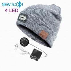 Bluetooth Beanie Hat LED Beanie Hat, Unisex Wireless Headphone Beanie USB Rechargeable Lighted Cap with Built-in HD Stereo Speakers & Mic