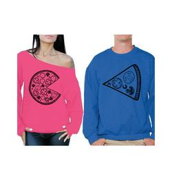 Awkward Styles Pizza Sweatshirts for Couples Funny Matching Pizza Couples Sweaters Pizza Slice Off Shoulder Sweatshirt for Women Pizza Sweater for Men Valentine's Day Cute Gift for Pizza Lovers