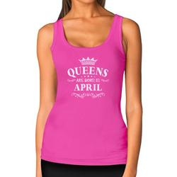 Tstars Womens Birthday Gift for Women Queens Are Born in April Birthday Party B Day Women Tank Top