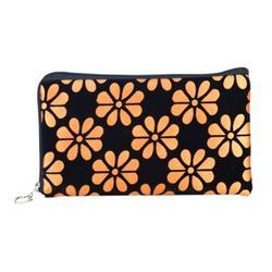 Women Floral Printing Wallet Four Leaf Clover Coins Purse Corduroy Handbag Phone Bag with Zipper Closure Orange