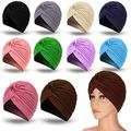 10 Pieces Stretch Polyester Turbans Head Bennie Cover India's Hat Turban Headwear Twisted Pleated Headwrap for Women Girls, 10 Colors (Mixed Colors)