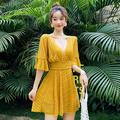 Clearance!Solid Closed Girls Student Bathing Suit Swimsuit Korean 2020 Summer New Swimwear Women One-piece Beach Biquini Yellow XL