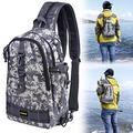 PLUSINNO Fishing Tackle Backpack Storage Bag?Outdoor Shoulder Backpack?Fishing Gear Bag?Water-Resistant Fishing Backpack with Rod Holder (Large(16.511.85.5inch)-White camo)