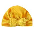 Huakaishijie Newborn Kids Beanie Hat Bowknot Turban Beanie Sequined Hat