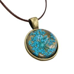 Dried Flower Necklace Natural Pressed Flower Necklace Round Pendant Necklace