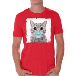 Awkward Styles Cat Blow Blue Gum T Shirt Cat Clothing Animal T-Shirt for Men Funny Animal Gifts Cat T Shirt Cute Animal T Shirt Funny Cat Shirt Gifts for Him Funny Men T Shirt Little Cat Tshirt