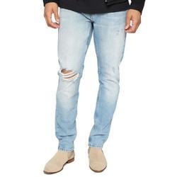Mens Ripped Moto Biker Jeans Frayed Regular Fit Trousers Stretch Straight Leg Casual Denim Pants