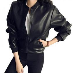 Newway Female New Design Spring Autumn PU Leather Jacket Faux Soft Jacket Slim Black Rivet Zipper Motorcycle Black Jackets