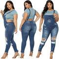 Women´s Jeans Jumpsuit Leggings Bib Overall Ripped Denim Pants Plus Size Trouser