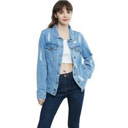 Long Sleeve Denim Jacket Ripped Jean Jacket Lightweight Stone Wash Boyfriend Coat for Women, Blue, Large