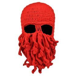 Octopus Cthulhu Beard Hat Beanie Hat Knit Hat Winter Warm Octopus Hat Windproof Funny Men Women Hat Cap Wind Ski Mask in Red