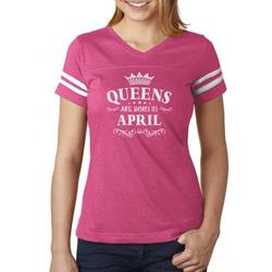 Tstars Womens Birthday Gift for Women Queens Are Born in April Birthday Party B Day Women Football Jersey T Shirt