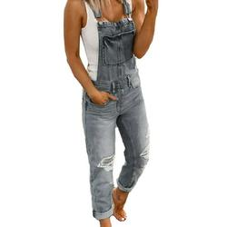 S-XXXXXL Ladies Casual Jeans Denim Jumpsuit Bib Trousers Dungarees Distressed Ripped Jeans Straps Overalls Trousers Women Pockets Long Pants