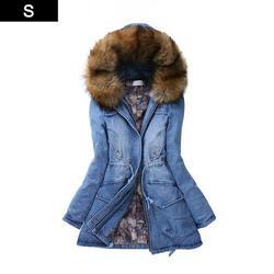 Women Winter Coat Lapel Long Sleeve Windbreaker Denim Hooded Jacket