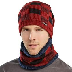 Mens Winter Warm Knitted Beanie Hat Hat Neck Warmer Scarves Set Outdoor Ski Caps