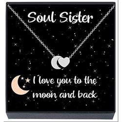 Soul Sister Necklace Jewelry Gifts , ''I Love You to the Moon and Back'' Heart Necklace, Friendship Best Friends Forever, BFF, Besties, Women, Teens, Girls (Silver)
