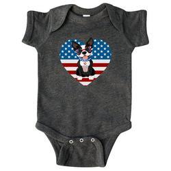Boston Terrier Dog US Flag July 4th Infant Creeper