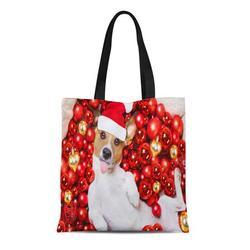 KDAGR Canvas Tote Bag Jack Russell Terrier Dog Santa Claus Hat for Christmas Reusable Shoulder Grocery Shopping Bags Handbag