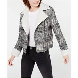 Maralyn & Me Juniors' Faux-Shearling-Trim Moto Jacket, Black/White/Camel Plaid L