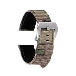 2 Piece 22mm Military Style Watch Band Strap - Light Green Camo with Silver Buckle and Quick Release Pins - Camouflage Canvas with Lorica Leather Inner Liner, Stainless Steel Buckle